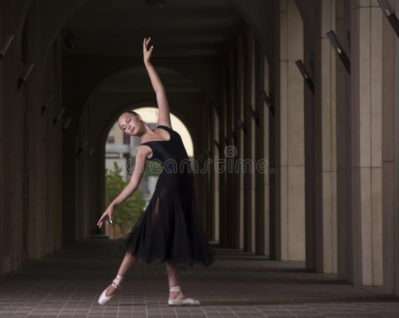 年轻人和难以置信地美丽的芭蕾舞女演员是摆在和跳舞o 库存图片