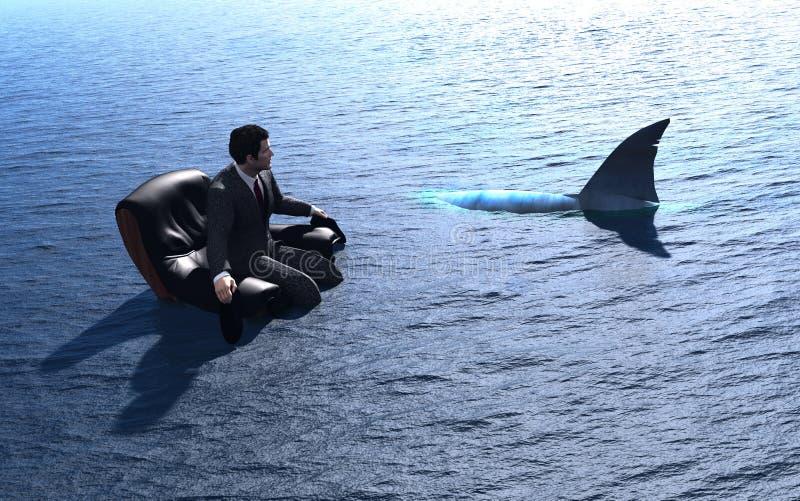 人和鲨鱼。 库存照片