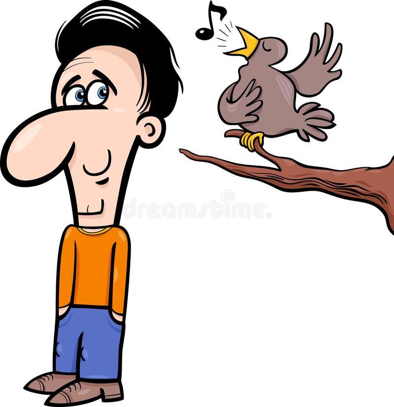 人和鸟动画片例证 皇族释放例证
