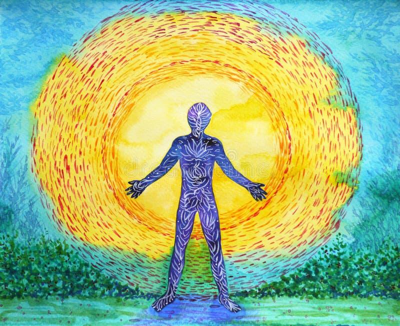 人和更大的功率,抽象水彩绘画, 7 chakra瑜伽 向量例证
