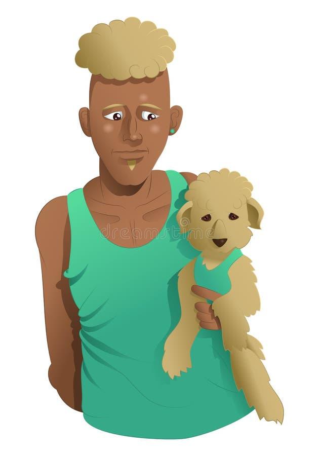 人和他的棕色小狗 库存例证
