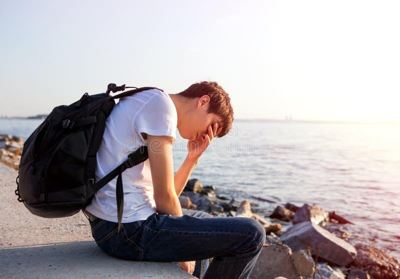 人哀伤的年轻人 免版税图库摄影