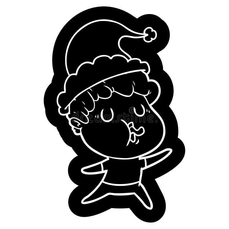 人唱歌佩带的圣诞老人帽子的动画片象 库存例证