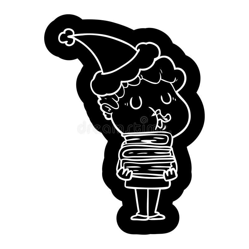 人唱歌佩带的圣诞老人帽子的动画片象 向量例证
