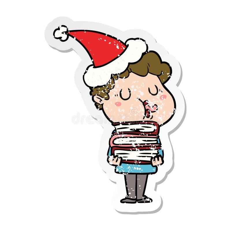 人唱歌佩带的圣诞老人帽子的困厄的贴纸动画片 库存例证