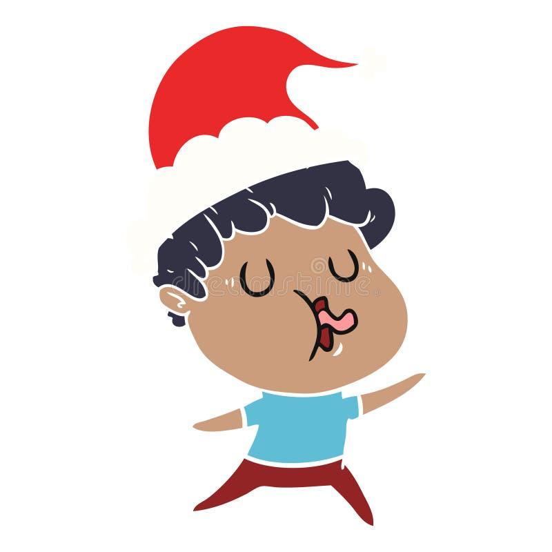 人唱歌佩带的圣诞老人帽子的平的彩色插图 向量例证