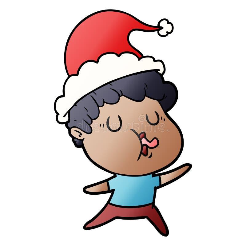 人唱歌佩带的圣诞老人帽子的梯度动画片 向量例证