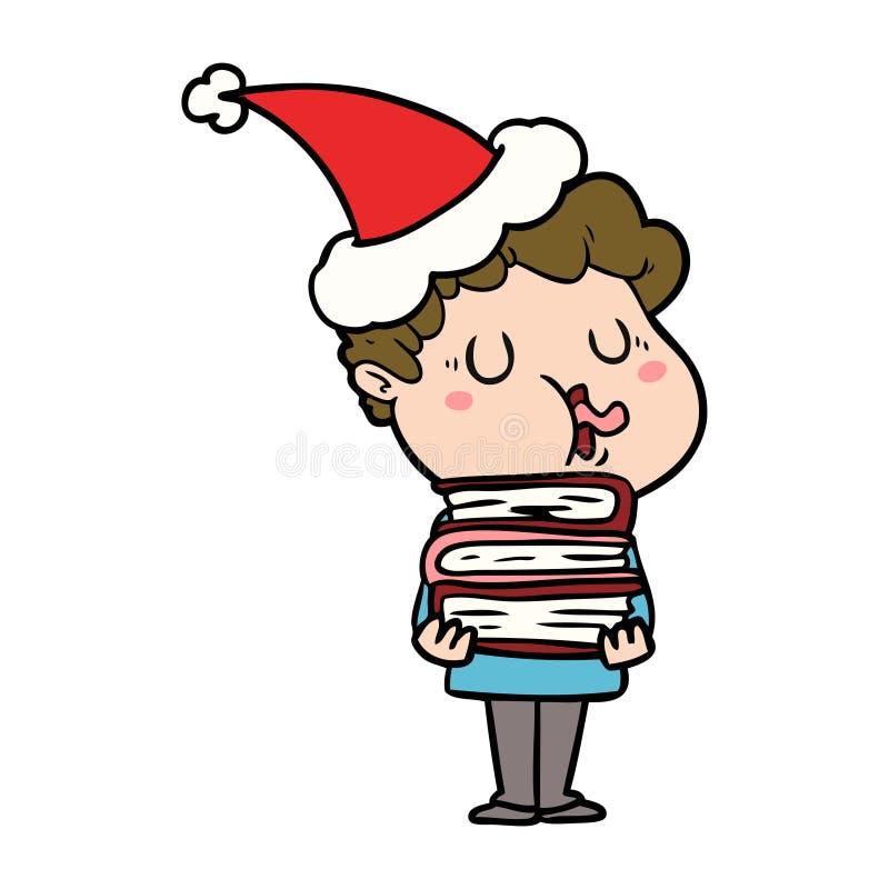 人唱歌佩带的圣诞老人帽子的线描 库存例证