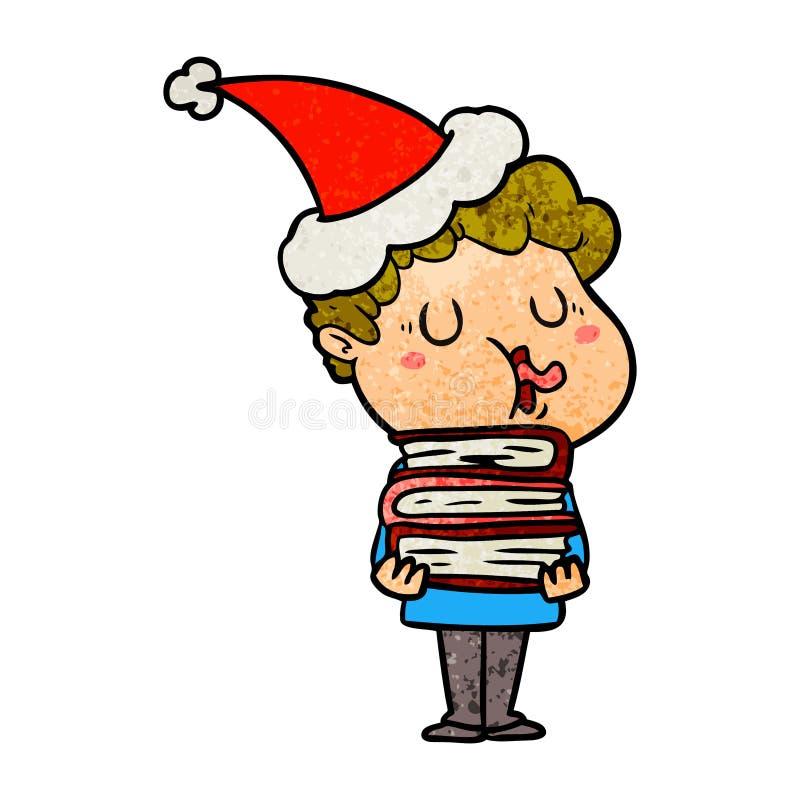 人唱歌佩带的圣诞老人帽子的织地不很细动画片 库存例证