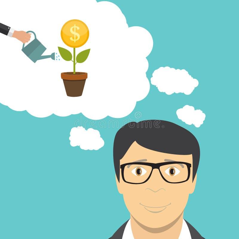 人商人考虑金钱 平的企业概念传染媒介例证 库存例证