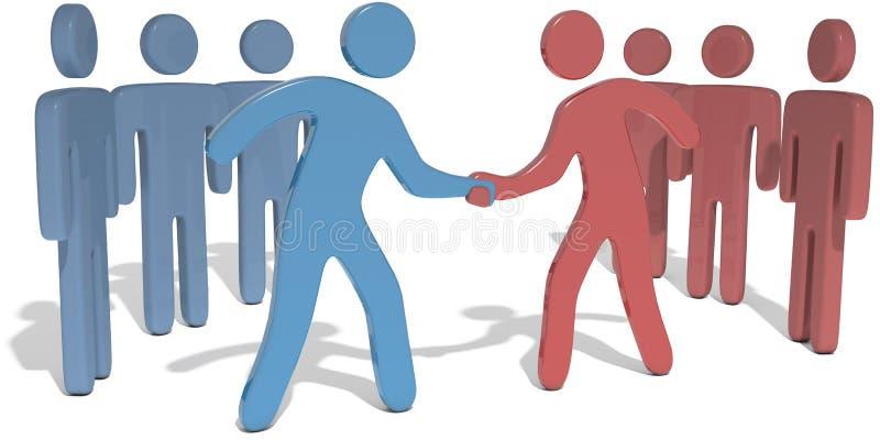 人团队负责人伸手可及的距离协议 库存例证
