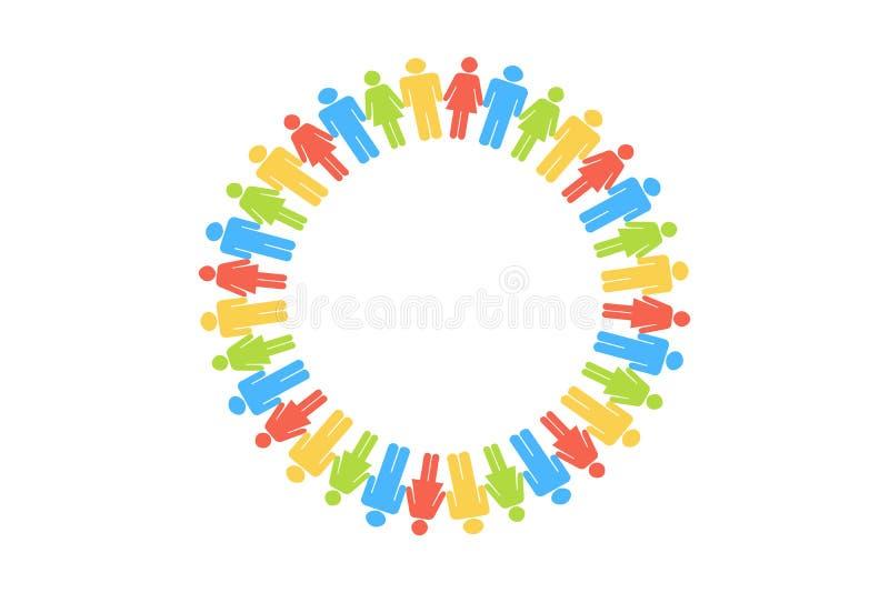 人圈子聚集在白色背景 皇族释放例证
