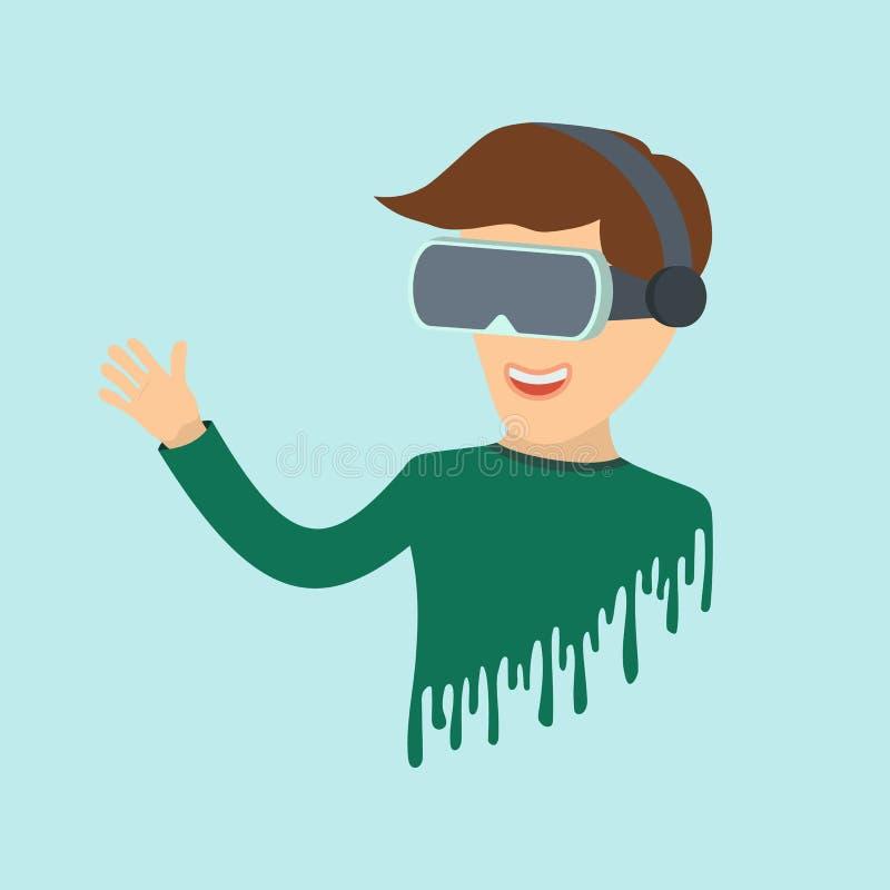 人在与玻璃的虚拟现实中 平的象虚拟现实 r 向量例证