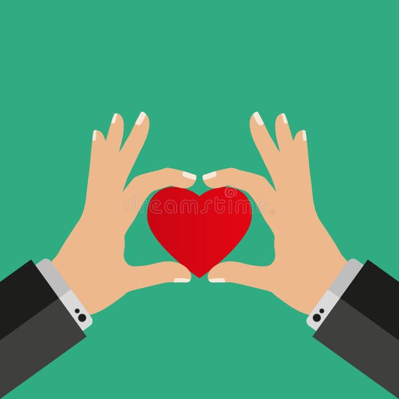 人在他的手上拿着心脏 传染媒介例证平的设计 慈善标志 皇族释放例证