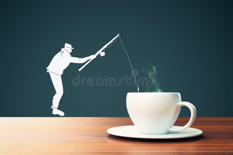 人在咖啡杯的剪影渔 向量例证