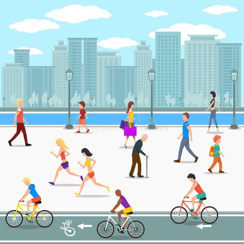 人在城市河街道上散步 库存例证