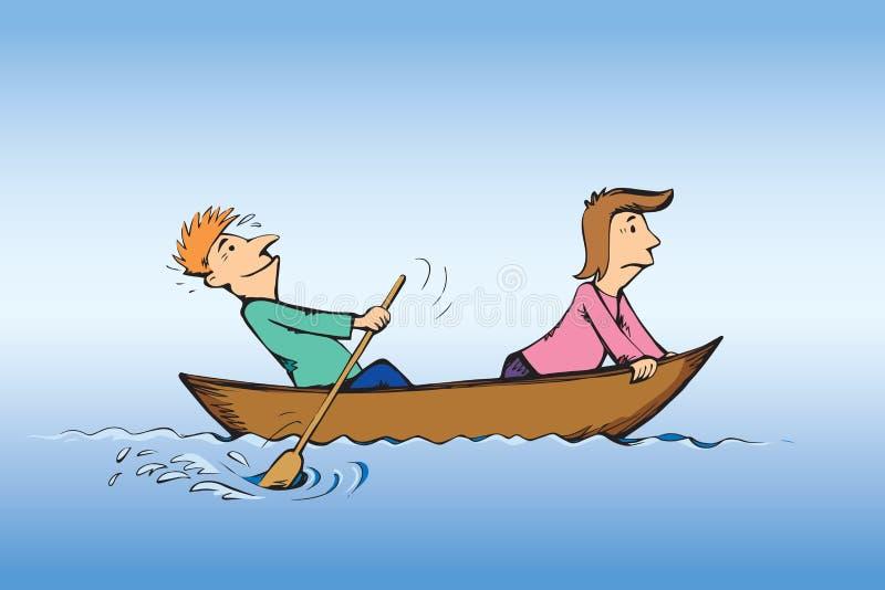 人在小船游泳 得出花卉草向量的背景图片
