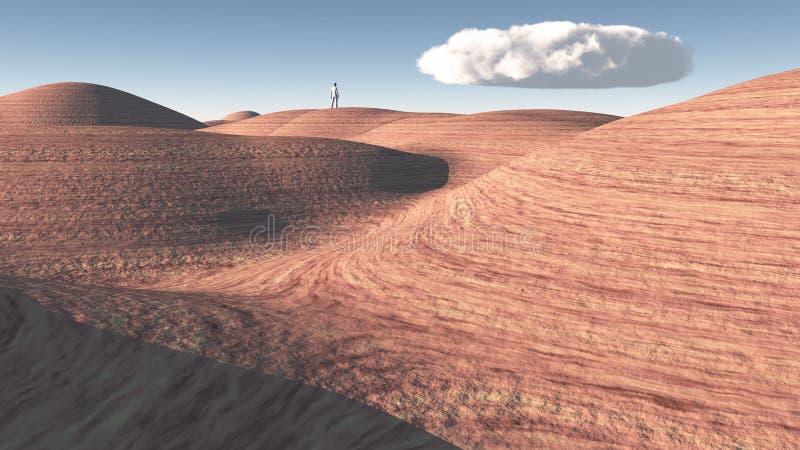 人在岩石沙漠站立 图库摄影