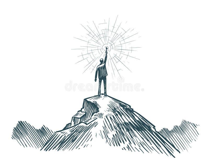 人在手中站立在与火炬的山顶部 事务,达到目标,成功,发现概念 剪影传染媒介 向量例证