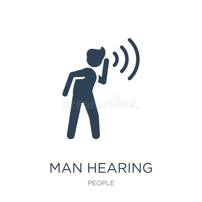 人在时髦设计样式的听力象 人在白色背景隔绝的听力象 人听力现代传染媒介的象简单和 向量例证