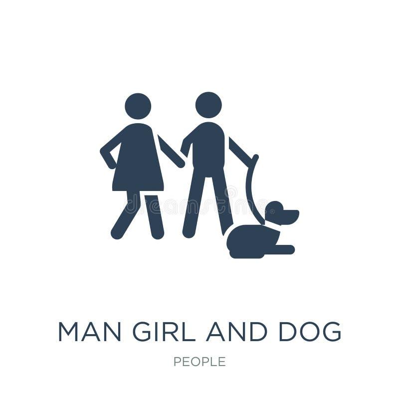 人在时髦设计样式的女孩和狗象 人在白色背景隔绝的女孩和狗象 人女孩和狗传染媒介象 向量例证