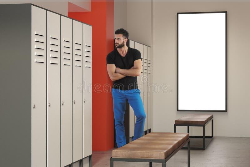 人在有海报的更衣室 库存照片