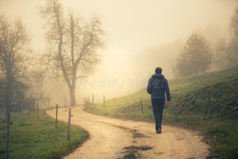 人在有雾的农村路单独走 图库摄影