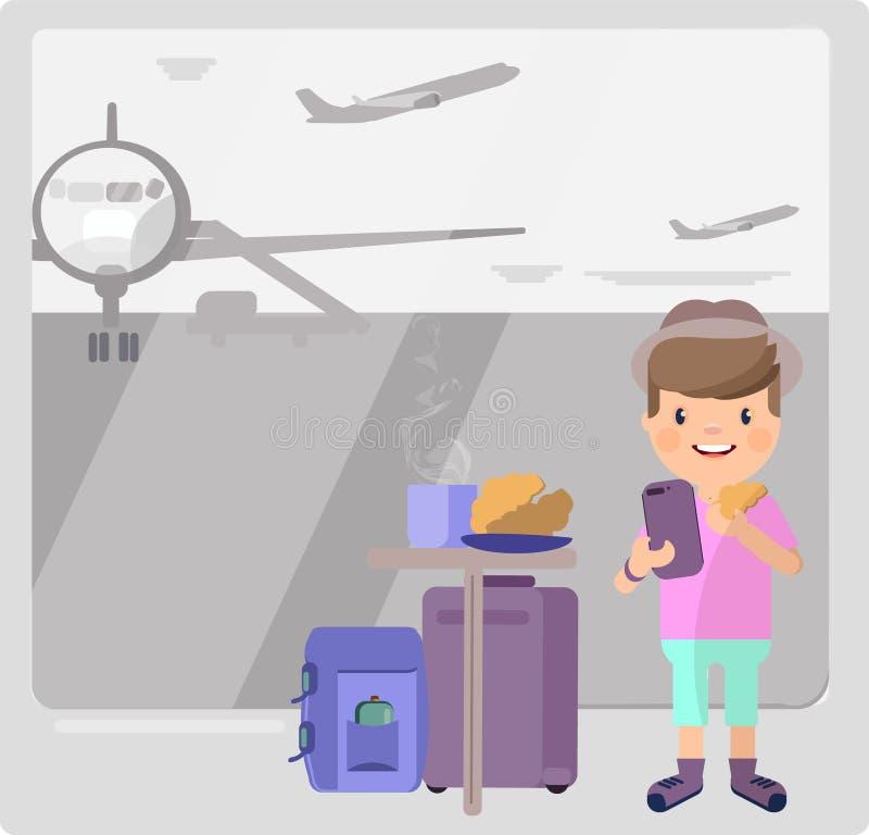年轻人在机场 他喝咖啡并且在电话里说 库存例证