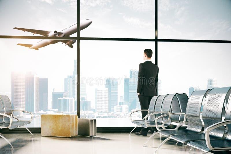 人在机场 向量例证