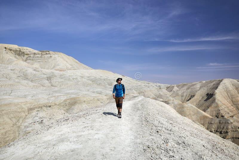 人在沙漠 免版税库存照片