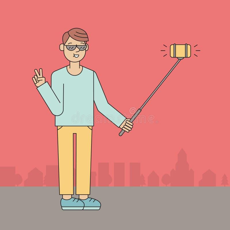 年轻人在街道做selfie 概述设计 库存例证
