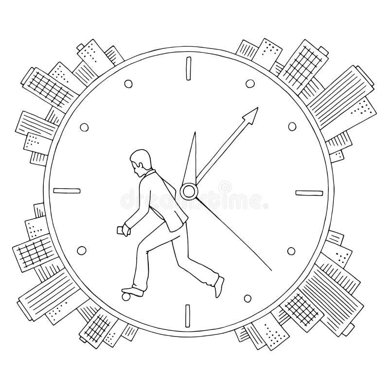 人在轮子时钟表盘城市图表黑白色剪影例证传染媒介后跑 向量例证