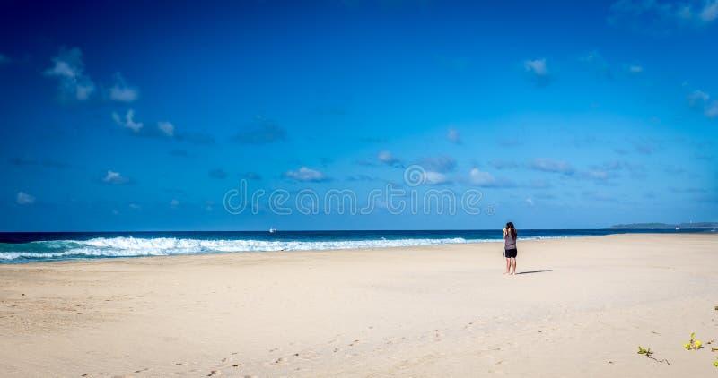 人在费尔南多・迪诺罗尼亚群岛海滩附近站立 库存照片