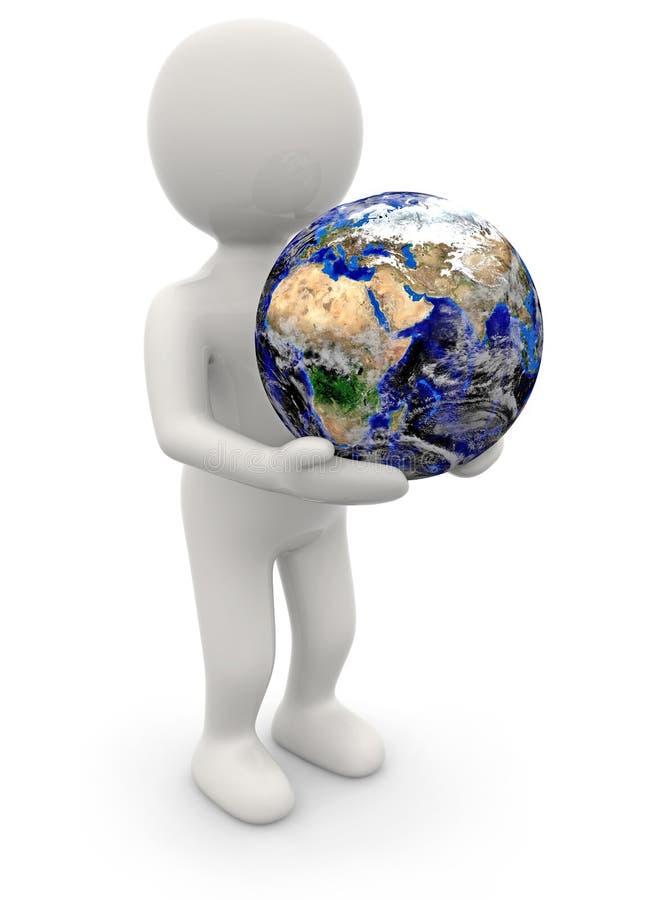人在他的手上的拿着地球 皇族释放例证
