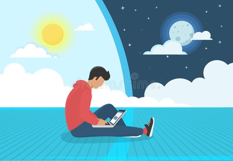 年轻人坐地板日夜与膝上型计算机一起使用 库存例证