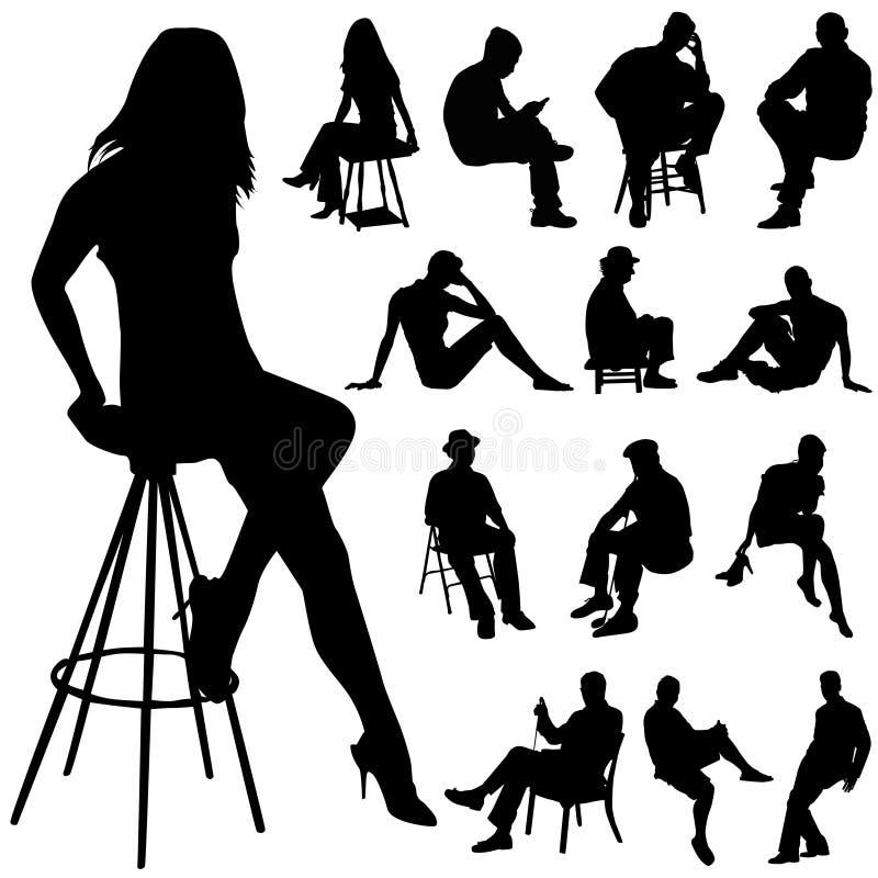 人坐的向量 向量例证