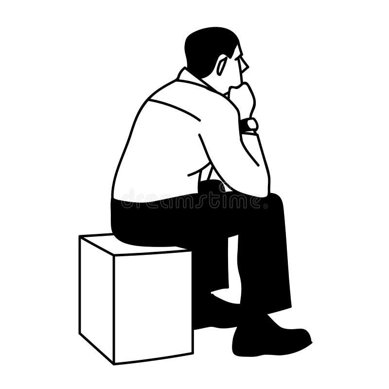 人坐箱子 r 在白色背景隔绝的黑线 ?? r 向量例证