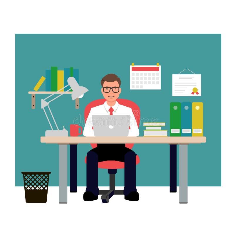 人坐红色椅子在办公室 商人传染媒介例证 免版税库存图片