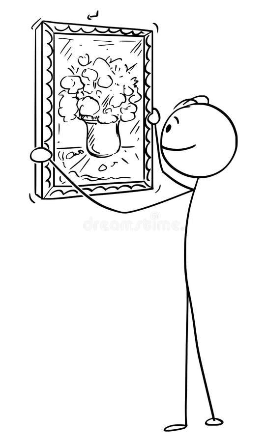 人垂悬的花绘画传染媒介动画片在墙壁上的 皇族释放例证