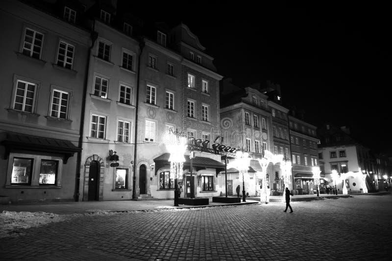 人夜在华沙 免版税库存图片