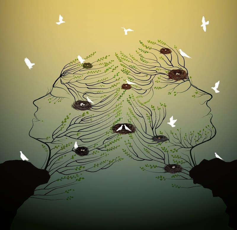 人夫妇看起来象与生长在岩石、家庭和ralationships的鸟巢的树枝剪影 向量例证