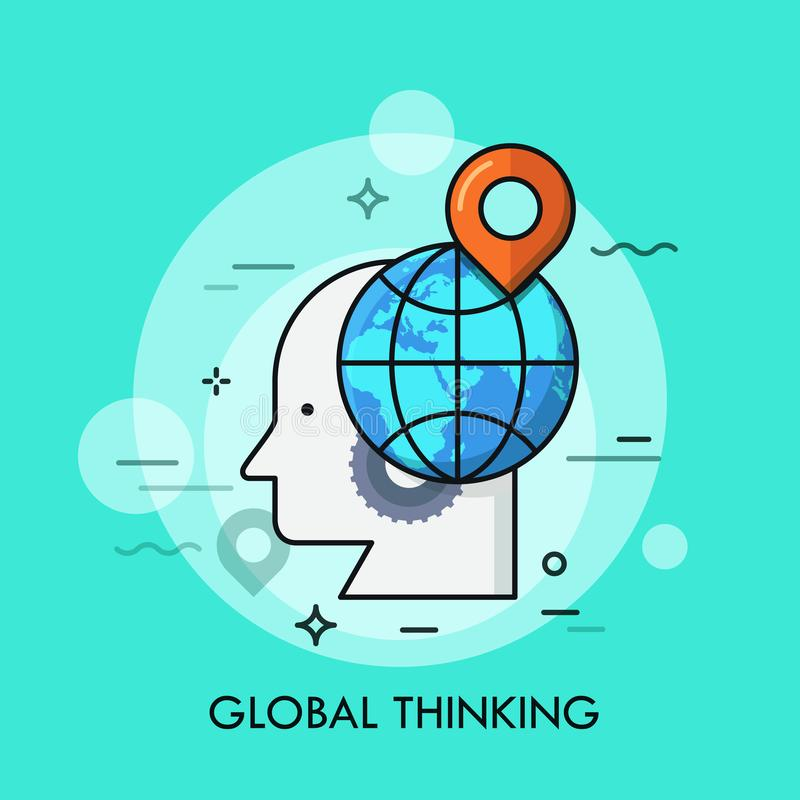 人头、链轮、地球和装配标记剪影对此 全球性认为,国际知识的概念 皇族释放例证