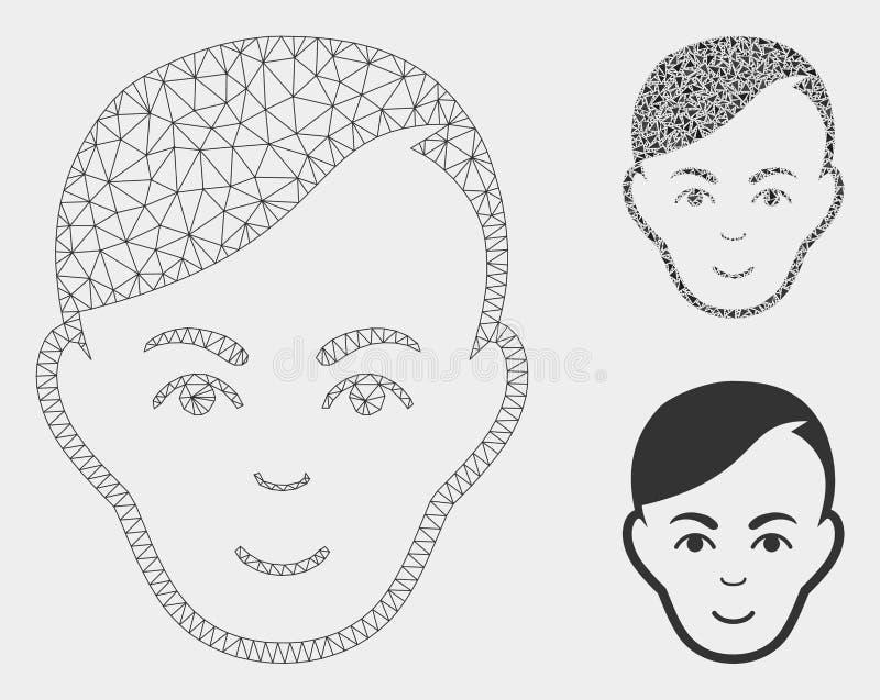 人头传染媒介滤网尸体模型和三角马赛克象 向量例证