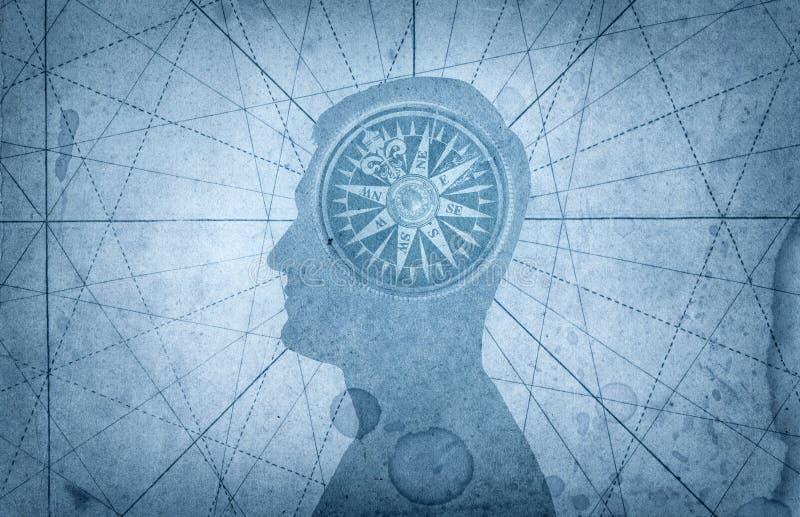 人头和指南针 在航海题目的概念, 免版税图库摄影