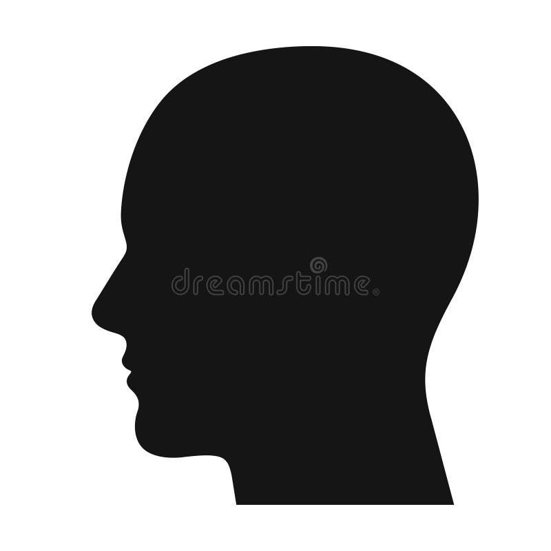 人头外形黑色阴影剪影 库存例证