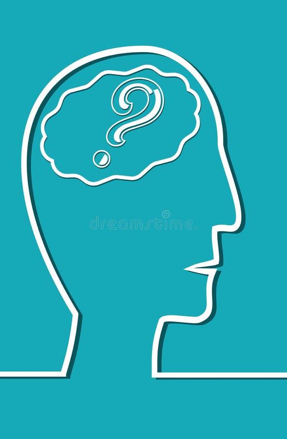 人头线描有脑子的 在脑子问号 皇族释放例证