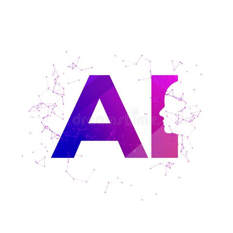 人头网络头脑数字技术 网络脑子商标未来技术面孔,机器人人工智能 向量例证