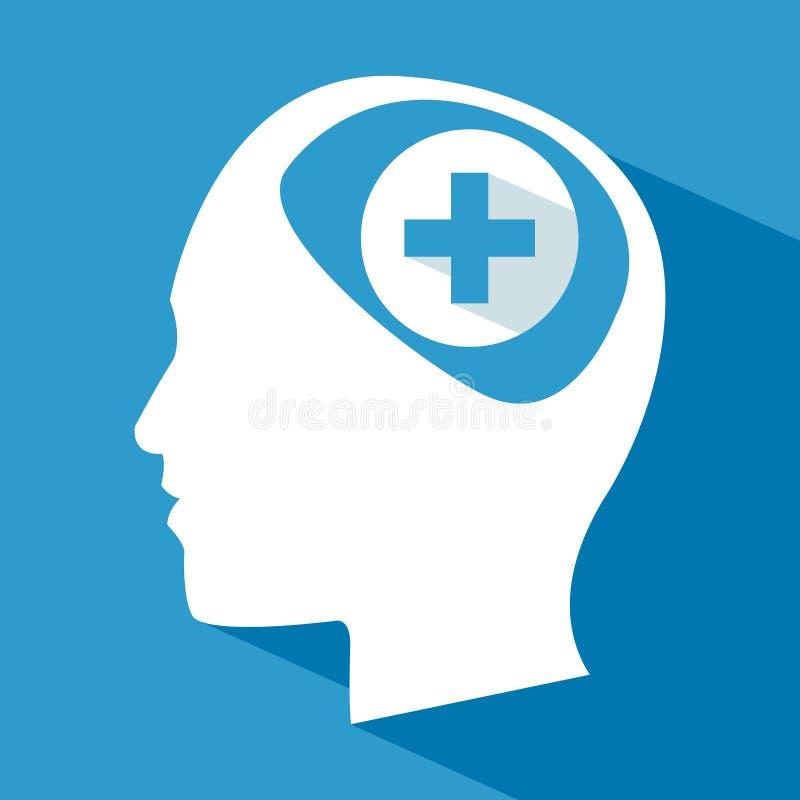 人头脑子关心十字架 向量例证