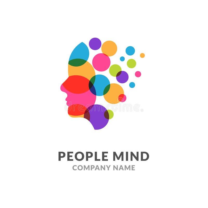 人头面孔商标,创造性的脑子人 数字外形面孔创新智力头脑设计商标 向量例证