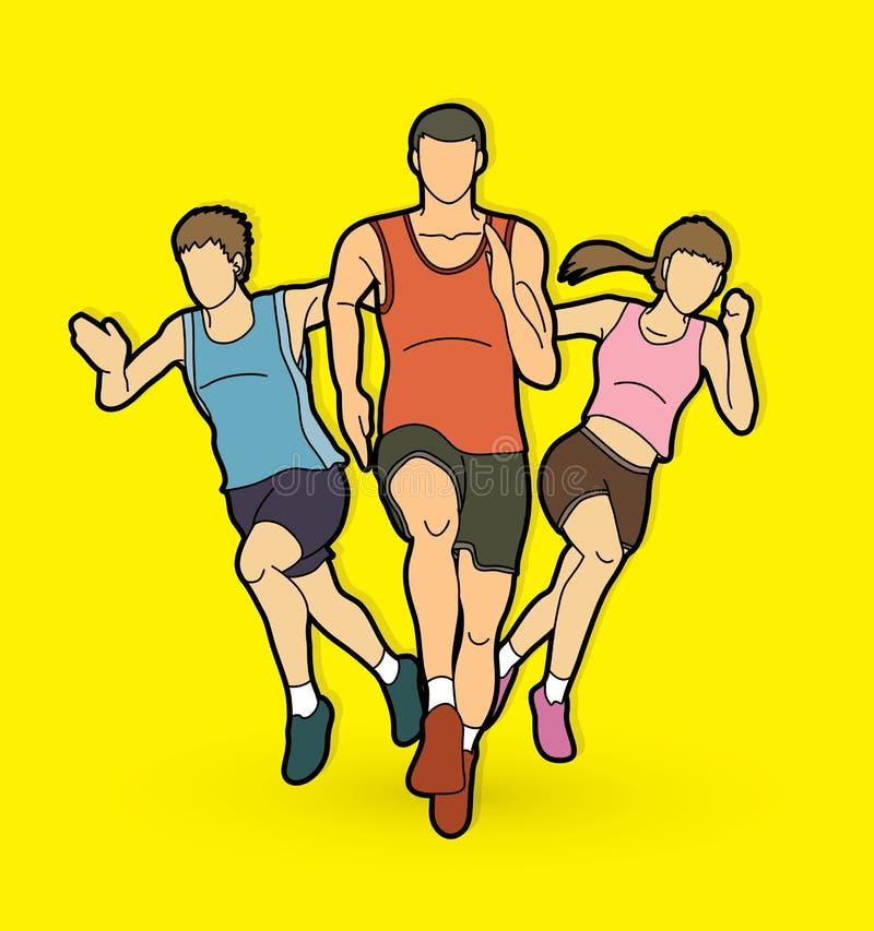 人奔跑,赛跑者,马拉松赛跑,队工作赛跑,人连续图表传染媒介 皇族释放例证